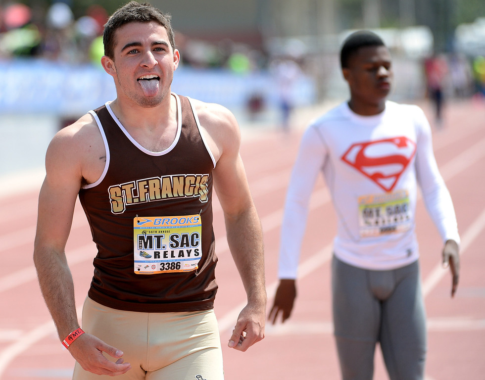 . St. Francis\' Ross Niederhaus reacts after winning the 400 meter Dash seeded during the Mt. SAC Relays in Hilmer Lodge Stadium on the campus of Mt. San Antonio College in Walnut, Calif., on Saturday, April 19, 2014.  (Keith Birmingham Pasadena Star-News)