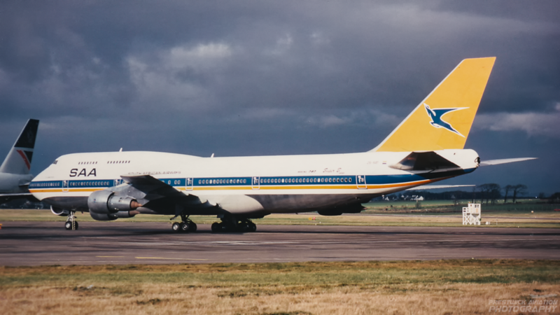 ZS-SAT. Boeing 747-344. South African Airways. Prestwick. 1980`s.