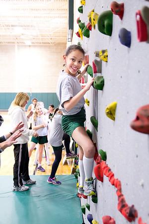 Lower School Girls on Rock Wall