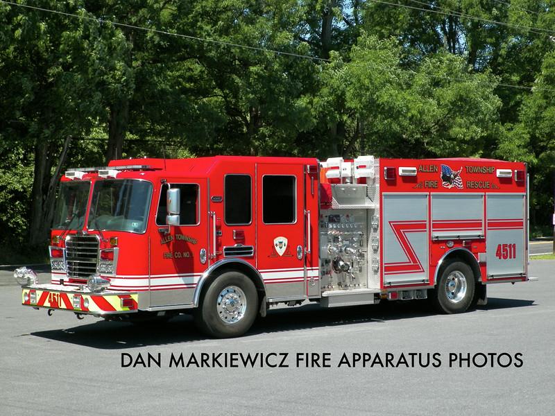ALLEN TOWNSHIP FIRE CO. ENGINE 4511 2012 KME PUMPER