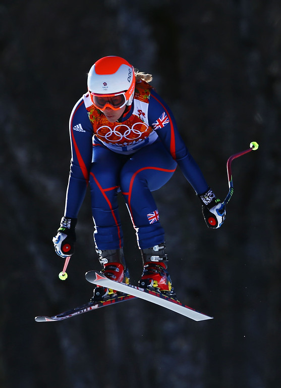. Chemmy Alcott of Great Britain skis during the Alpine Skiing Women\'s Downhill on day 5 of the Sochi 2014 Winter Olympics at Rosa Khutor Alpine Center on February 12, 2014 in Sochi, Russia.  (Photo by Doug Pensinger/Getty Images)