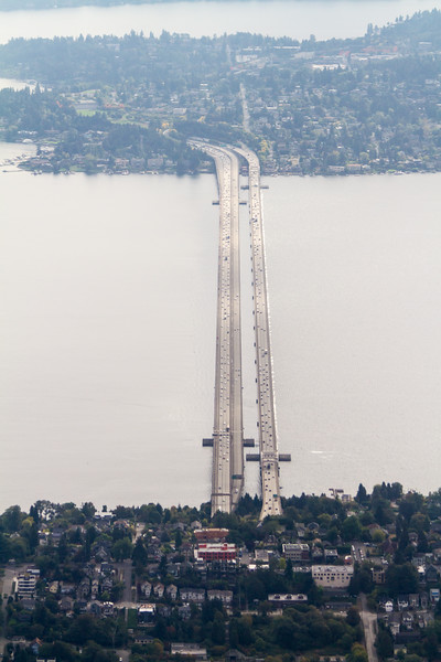 Aerial view of I-90 bridge from Seattle to Mercer Island - USA - Washington