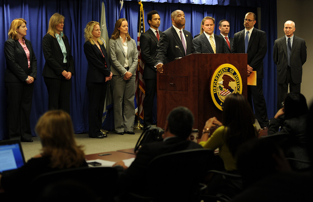 . Federal officials announce charges in Los Angeles on Friday, Feb. 21, 2014, against State Sen. Ron Calderon and his brother Tom that include mail fraud, money laundering, tax evasion, and fraud related to health care. (Photo by John McCoy/Los Angeles Daily News)
