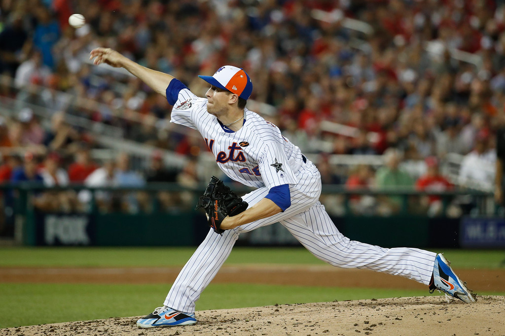 . New York Mets pitcher Jacob deGrom (48) throws in the third inning of the Major League Baseball All-star Game, Tuesday, July 17, 2018 in Washington. (AP Photo/Alex Brandon)