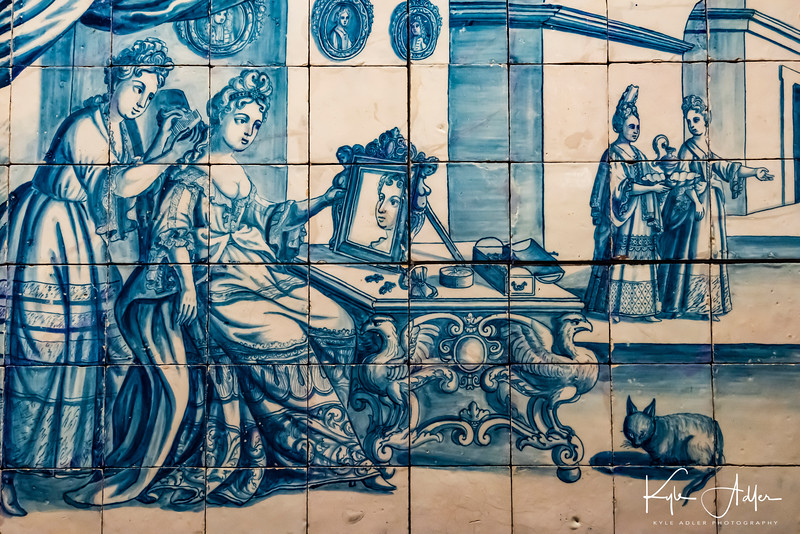 An example of the use of azulejo (painted tiles) for secular purposes.  You gotta love the hairless cat by the women's feet.