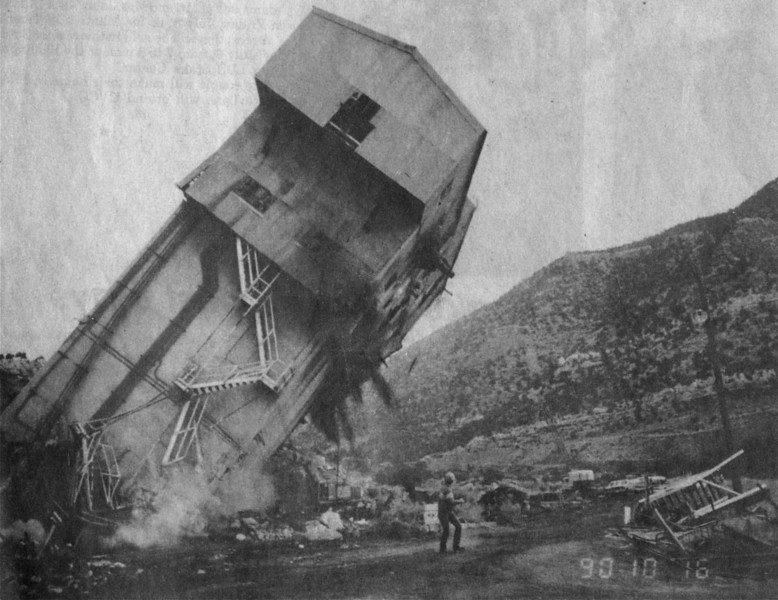 Geneva mine preparation plant being demolished. October 16, 1990.