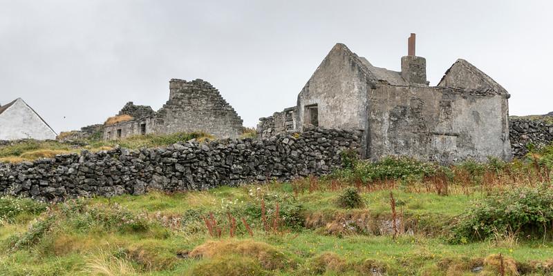 Ruins of ancient stone buildings, Kilronan, Inishmore, Aran Islands, County Galway, Ireland