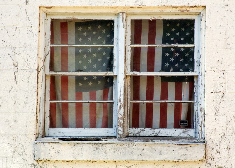Flags Window Harpers Ferry, West Virginia, USA