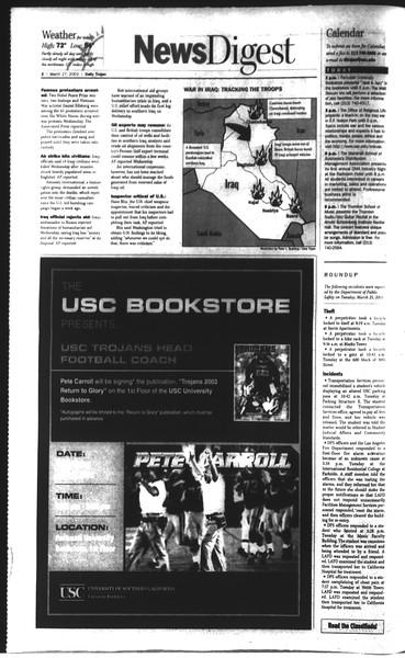 Daily Trojan, Vol. 148, No. 42, March 27, 2003