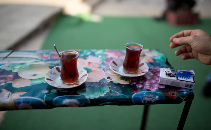 Afternoon tea in Duhok, served with copious sugar for local tastes.
