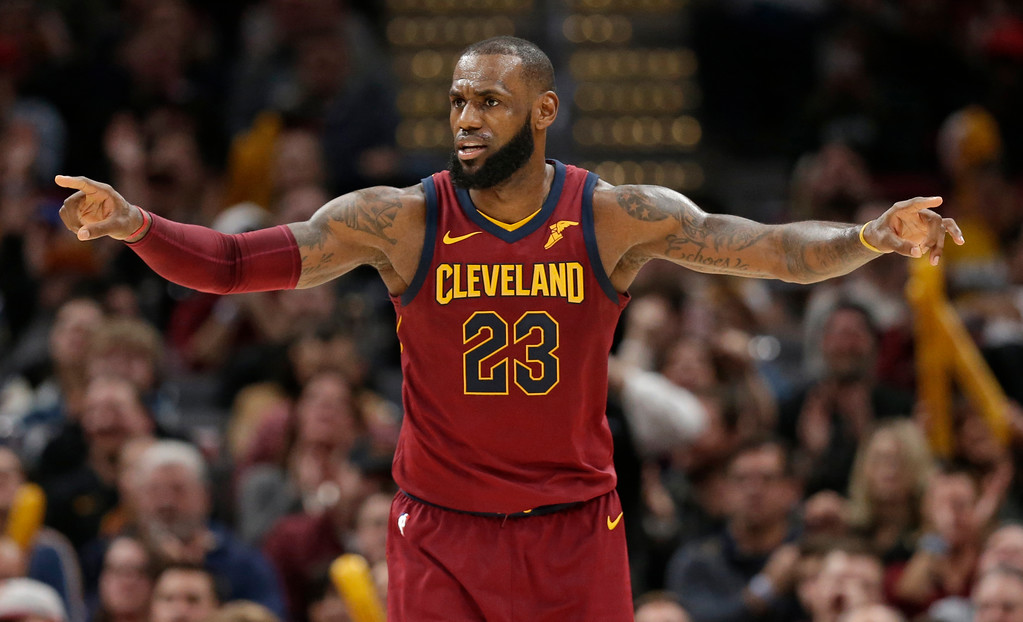 . Cleveland Cavaliers\' LeBron James gives instructions to players in the second half of an NBA basketball game against the Brooklyn Nets, Wednesday, Nov. 22, 2017, in Cleveland. (AP Photo/Tony Dejak)