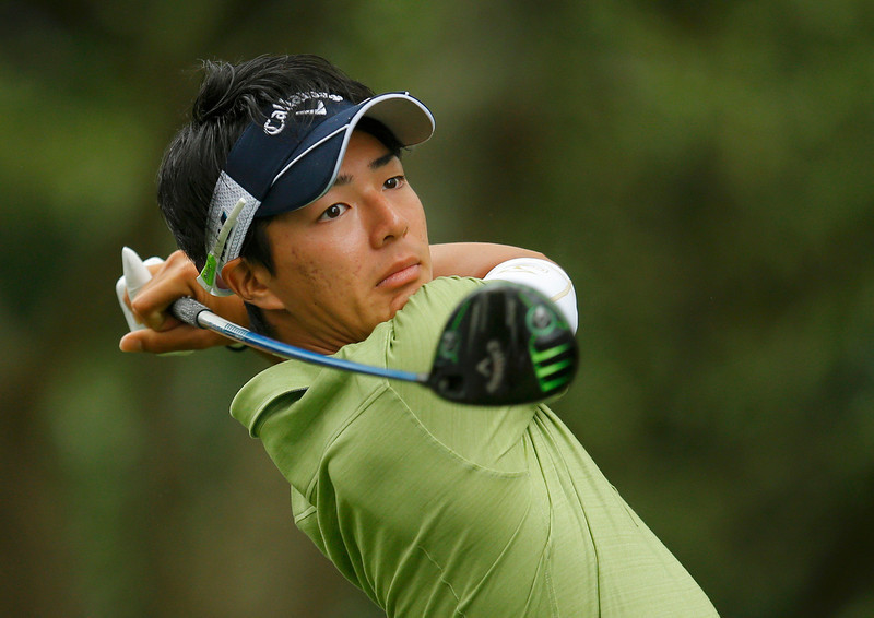. Ryo Ishikawa of Japan hits his tee shot on the second hole during first round play in the 2013 Masters golf tournament at the Augusta National Golf Club in Augusta, Georgia, April 11, 2013.  REUTERS/Brian Snyder