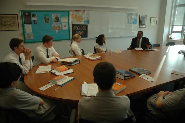 Rev. Williams visits Mr. Moyer's Class