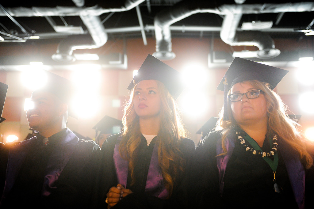 . Students listen to speakers at the Cesar Chavez Learning Academies Social Justice Humanitas Academy graduation in San Fernando, Wednesday, June 5, 2013. (Michael Owen Baker/Staff Photographer)