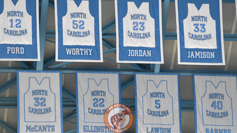 The jerseys of former North Carolina Tar Heels greats hang in the Dean Smith Center rafters. (Michael Shroyer/ TheKeyPlay.com)