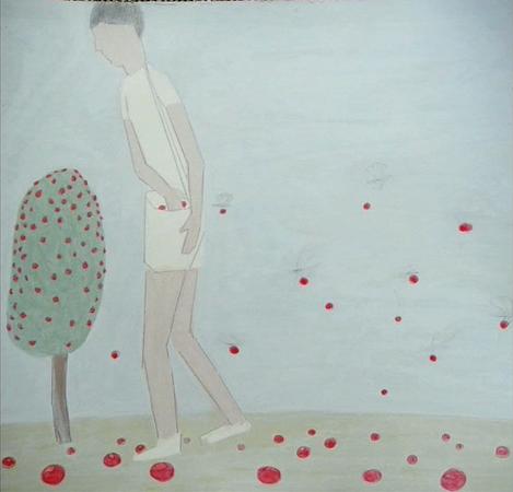 36. Wilson Díaz, con Amy Franceschini y Renny Pritikin. Movimiento de Liberación de la Planta de Coca, detalle Instalación, (El recolector, acrílico sobre papel), Beulah Gallery, San Francisco, 2009.