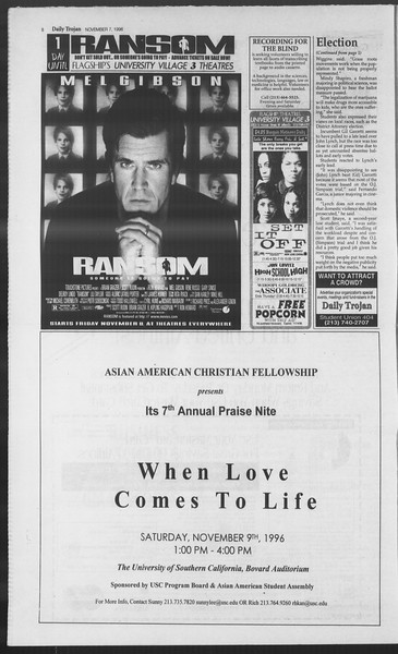 Daily Trojan, Vol. 129, No. 50, November 07, 1996