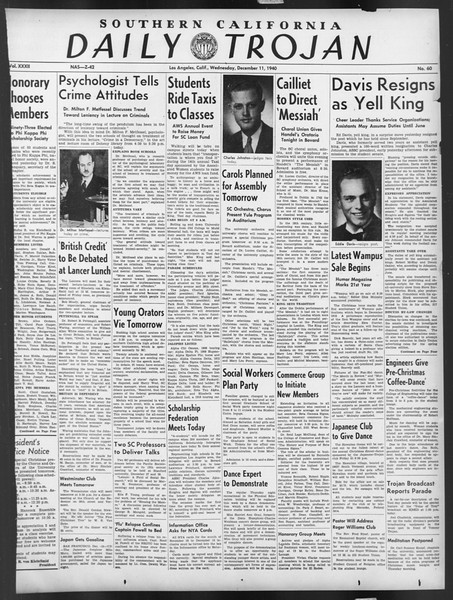 Daily Trojan, Vol. 32, No. 60, December 11, 1940