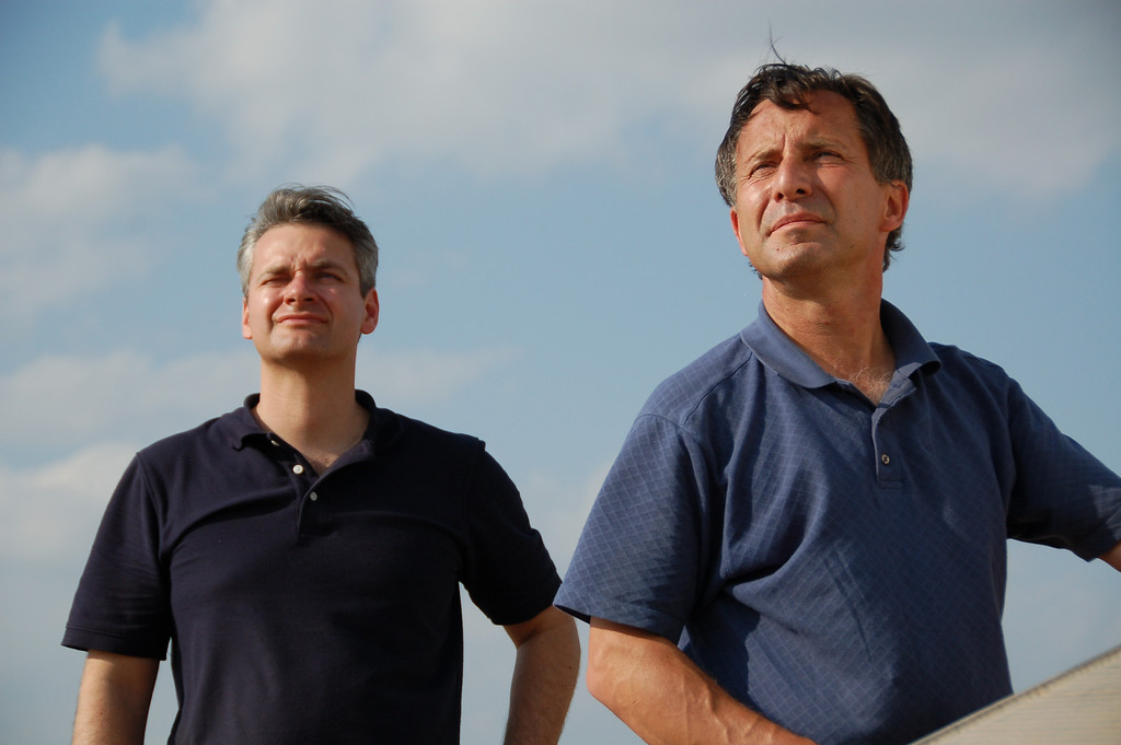 . This undated photo provided by The Discovery Channel shows Carl Young, left, and Tim Samaras watching the sky. Jim Samaras said Sunday, June 2, 2013, that his brother storm chaser Tim Samaras was killed along with Tim\'s son, Paul Samaras, and another chaser, Carl Young,  on Friday, May 31, 2013 in Oklahoma City. The National Weather Serviceís Storm Prediction Center in Norman, Okla., said the men were involved in tornado research.( AP Photo/Discovery Channel)