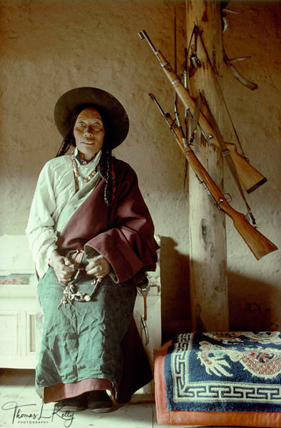 Khampa woman, Tibet. Lhasa valley was full of refugees from Eastern Tibet, mostly Khampas.