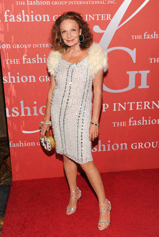 ". Fashion designer Diane von Furstenberg attends the Fashion Group International\'s 30th annual ""Night Of Stars\"" awards gala at Cipriani\'s Wall Street on Tuesday, Oct. 22, 2013, in New York. (Photo by Evan Agostini/Invision/AP)"