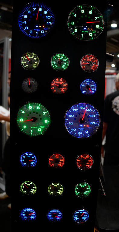 . Nov 6,2013 Las Vegas NV. USA. Custom lighting gages on display by Auto Meter, during the second day of the 2013 SEMA auto show. Photo by Gene Blevins/LA Daily News