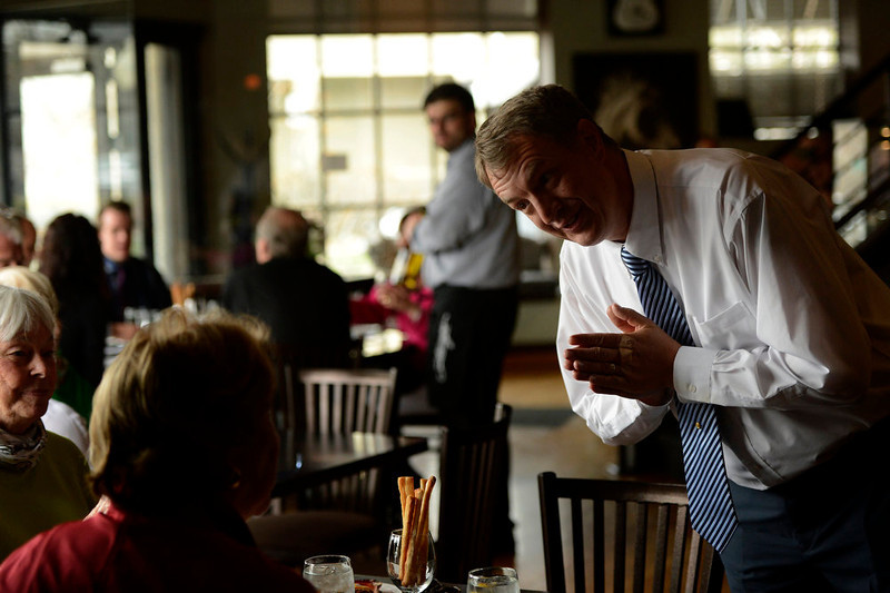 . Strings Restaurant server Michael Ware says goodbye to customers during the last day of service as the Denver favorite closes April 30, 2013 Denver, Colorado. (Photo By Joe Amon/The Denver Post)