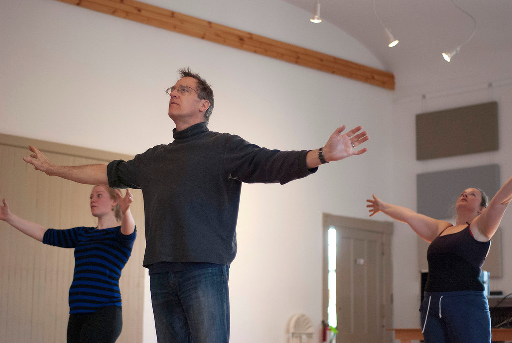 . Kayla Rice/Reformer                                 IBIT (Intrinsic Beauty of Invisible Things) instructor Donlin Foreman gives dancers Genevieve Amarante (left) and Brenda Lynn Siegel help during a rehearsal in Brattleboro on Tuesday afternoon.