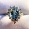 3.30ctw Aquamarine and Diamond Cluster Ring 0