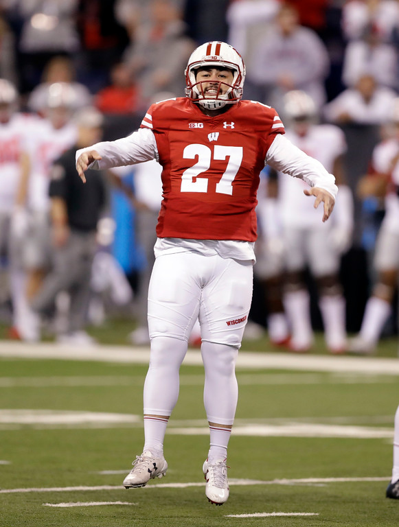 . Wisconsin place kicker Rafael Gaglianone celebrates during the second half of the Big Ten championship NCAA college football game against Ohio State, Saturday, Dec. 2, 2017, in Indianapolis. (AP Photo/Darron Cummings)