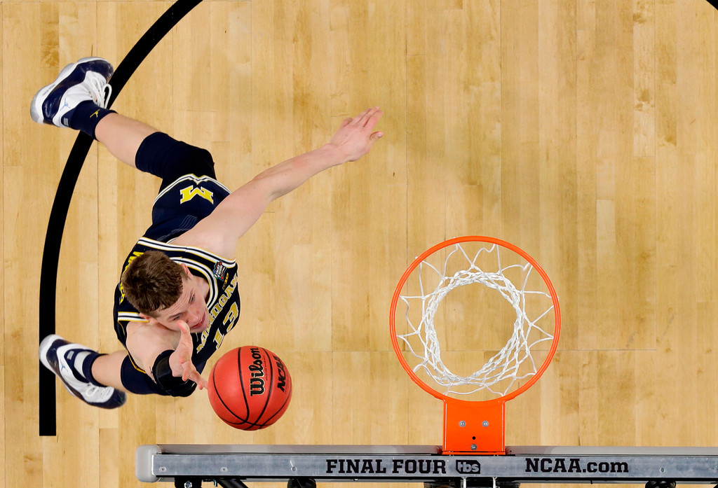 . Michigan forward Moritz Wagner drives to the basket during the second half against Villanova in the championship game of the Final Four NCAA college basketball tournament, Monday, April 2, 2018, in San Antonio. (AP Photo/Eric Gay)