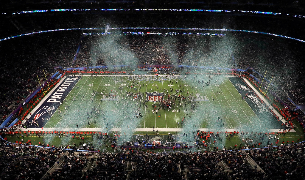 . The Philadelphia Eagles celebrate after the NFL Super Bowl 52 football game against the New England Patriots, Sunday, Feb. 4, 2018, in Minneapolis. The Eagles won 41-33. (AP Photo/Morry Gash)