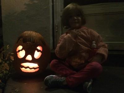 "Kiersten draw the ""Face"" I cut the pumpkin with my jigsaw"