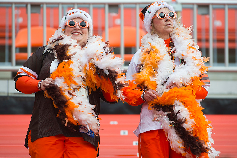 . Cleveland Browns fans enjoy the weather prior to the game against the Washington Redskins at Cleveland Browns Stadium on December 16, 2012 in Cleveland, Ohio. (Photo by Jason Miller/Getty Images)