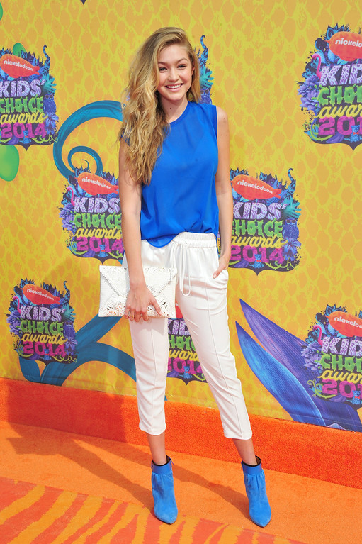 . Model Gigi Hadid attends Nickelodeon\'s 27th Annual Kids\' Choice Awards held at USC Galen Center on March 29, 2014 in Los Angeles, California.  (Photo by Frazer Harrison/Getty Images)