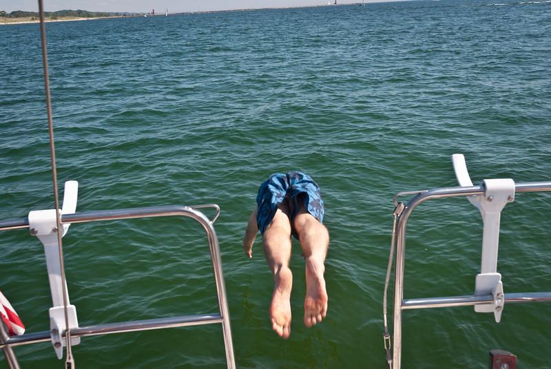 Bob takes a dip.