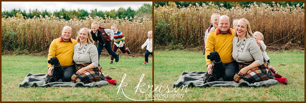 Collage of photos of parents sitting in front of field with children running up behind them