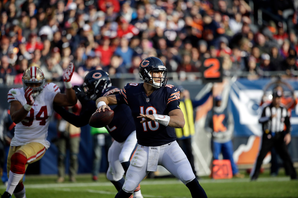 . Chicago Bears quarterback Mitchell Trubisky (10) throws during the second half of an NFL football game against the San Francisco 49ers, Sunday, Dec. 3, 2017, in Chicago. (AP Photo/Nam Y. Huh)