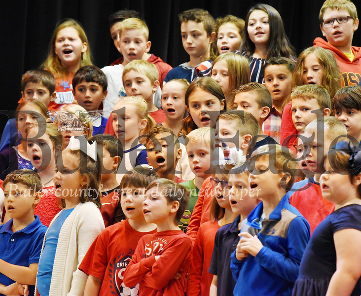 Harold Aughton/Butler Eagle: Third graders at Connoquenessing Valley Elementary School sung a variety of patrotic songs for their parents, family and veterans, Tues., Nov.12.
