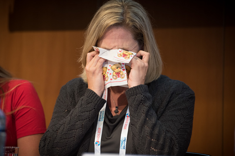 22nd International AIDS Conference (AIDS 2018) Amsterdam, Netherlands   Copyright: Marcus Rose/IAS  Photo shows: The 4th HIV Exposed Uninfected (HEU) Child and Adolescent Workshop.  Stephanie McCann, United States, sheds a tear while talking about being proud of her daughter.