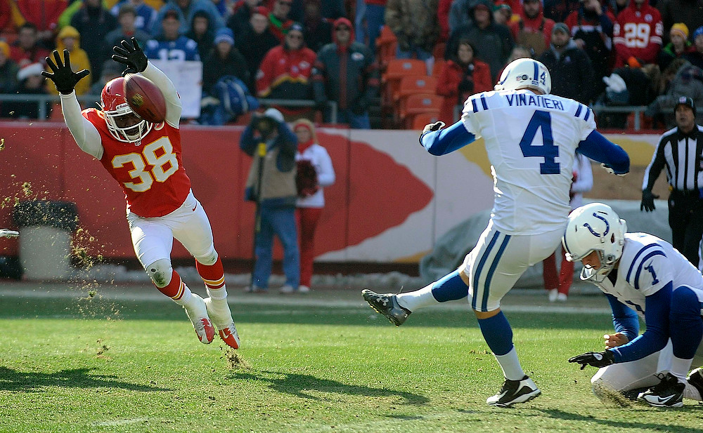 . Kansas City Chiefs defensive back Neiko Thorpe (38) tries to block a Indianapolis Colts kicker Adam Vinatieri field goal with Pat McAfee (R) holding during the first half of their NFL football game in Kansas City, Missouri December 23, 2012. REUTERS/Dave Kaup