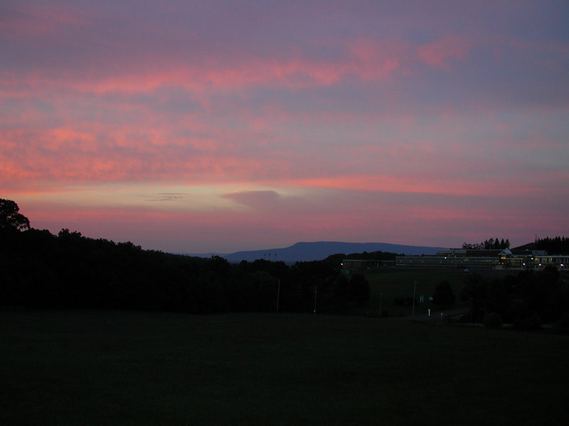 Looking south-west. The light colored mountains in the back ground are in the State of Virginia.