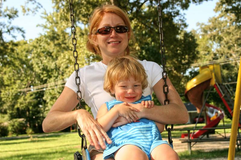 Swinging with mama.