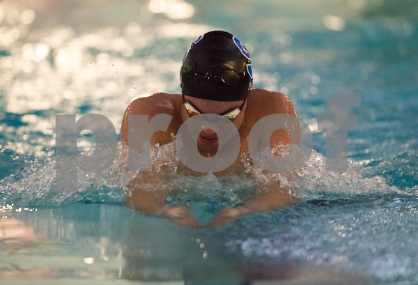01/19/18 Wesley Bunnell | Staff Plainville swimming was defeated by Southington 97-80 on Friday evening at Plainville High School. Southington's Brendon Egan in the 100 breast.