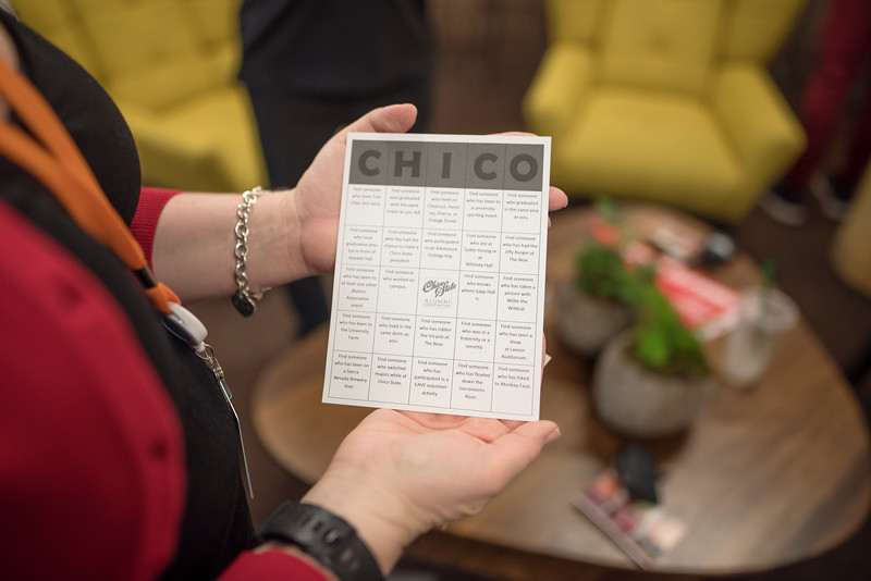 A Chico State themed bingo game is played at Chico State's Alumni Day at Salesforce West on Thursday, May 10, 2018 in San Francisco, Calif. (Jessica Bartlett /University Photographer/CSU Chico)