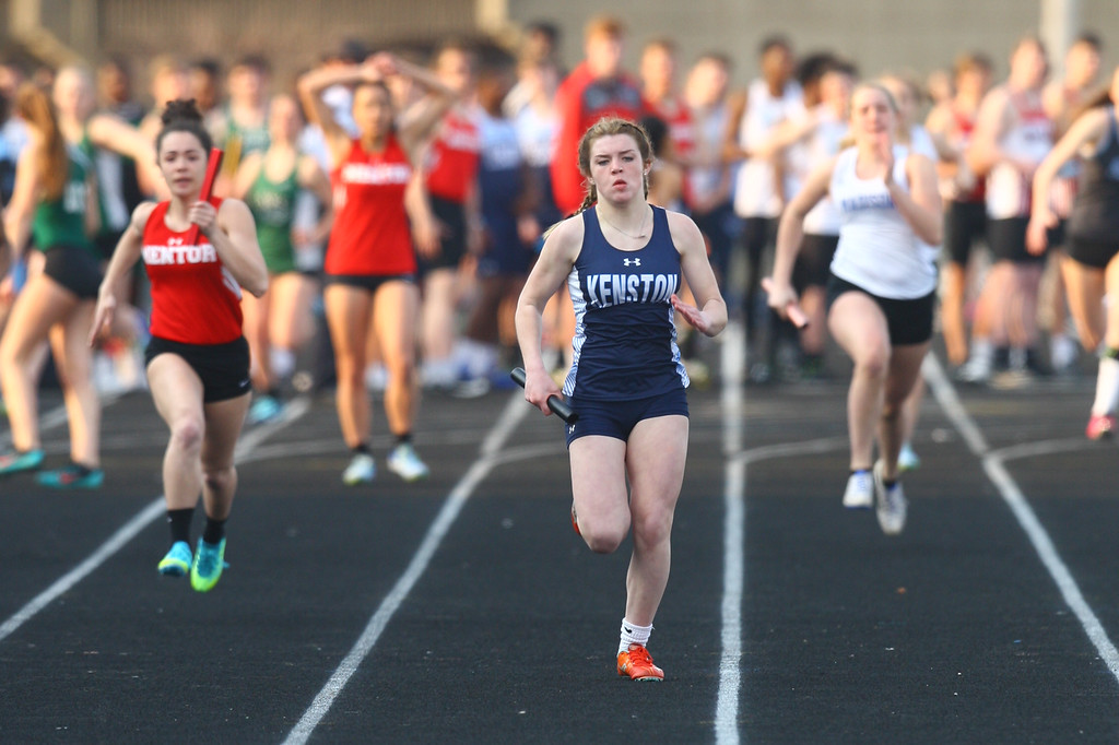 . 2018 - Track and Field - Willoughby South Invitational. 4x100 Meter Relay.  Kenston won in a time of 51.20, anchored by Elyse Myles.