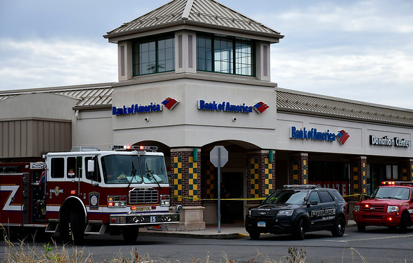 9/8/2018 Mike Orazzi | Staff Bristol fire and police departments on scene at Bank of America on Farmington Avenue in Bristol Saturday morning.