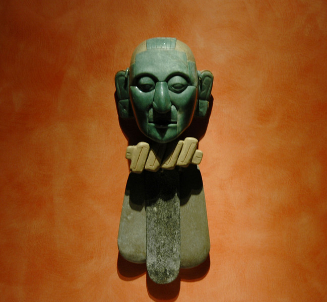 Jade mask from Maya Area of Mexico. In Anthropological Museum in Mexico City.