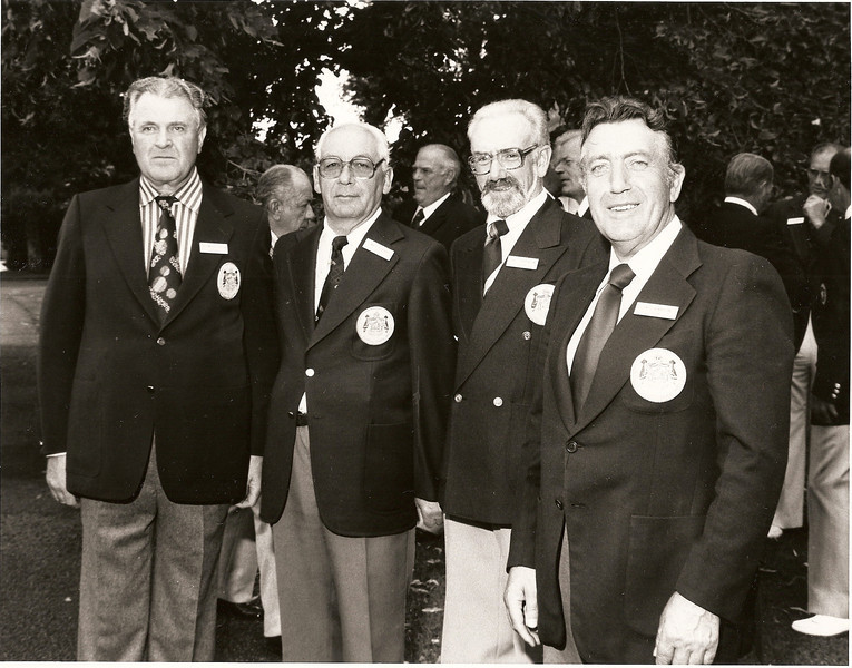 Broadmoore 1978. Heimsmót eldri kylfinga. Fv. Kristinn Bergþórsson NK, Ingólfur Isebarn GR, Hjalti Þórarinsson GR fyrirliði, Lárus Gunnar Arnórsson GR.