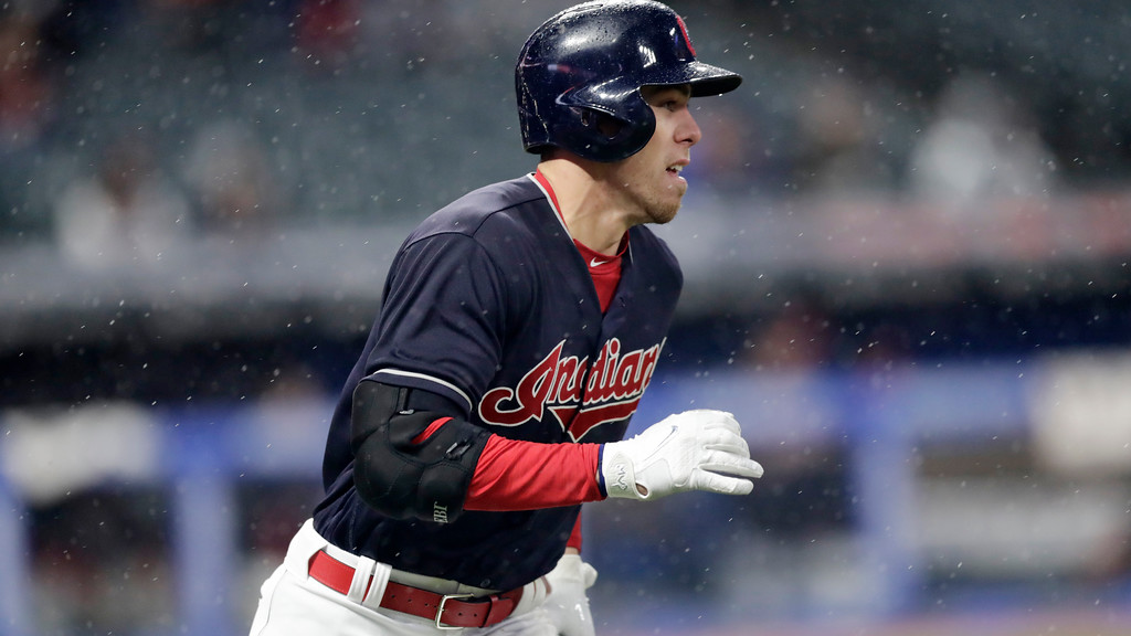 . Cleveland Indians\' Bradley Zimmer runs out a double in the seventh inning of a baseball game against the Chicago Cubs, Tuesday, April 24, 2018, in Cleveland. (AP Photo/Tony Dejak)